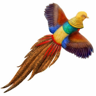 Flying Golden Pheasant Ornament Cut Out