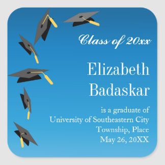 Flying Graduation Caps Announcement Square Sticker