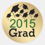 Flying Graduation Caps Green 2015 Grad Stickers