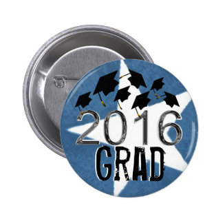 Flying Graduation Hats 2016 Grunge Star Button Pin