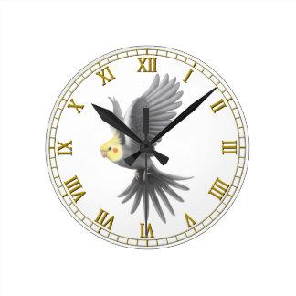 Flying Gray Cockatiel Parrot Wall Clock