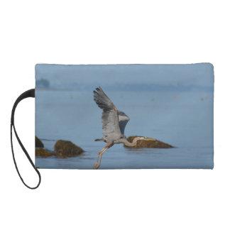 Flying Great Blue Heron Wristlet Purse