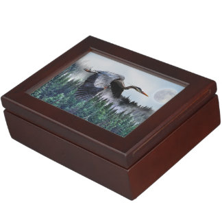 Flying Great Blue Heron & Misty Forest Wildlife Memory Box