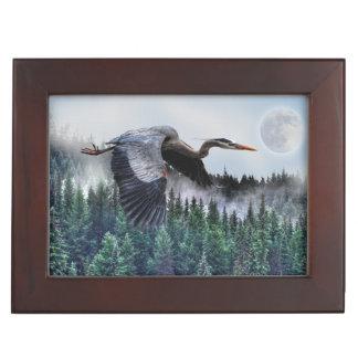 Flying Great Blue Heron & Misty Forest Wildlife Keepsake Boxes