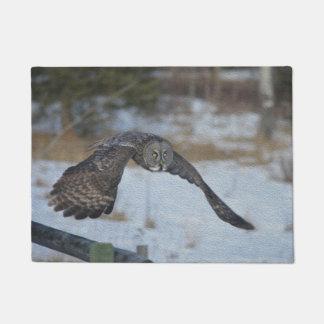 Flying Great Grey Owl in Winter Snow Doormat