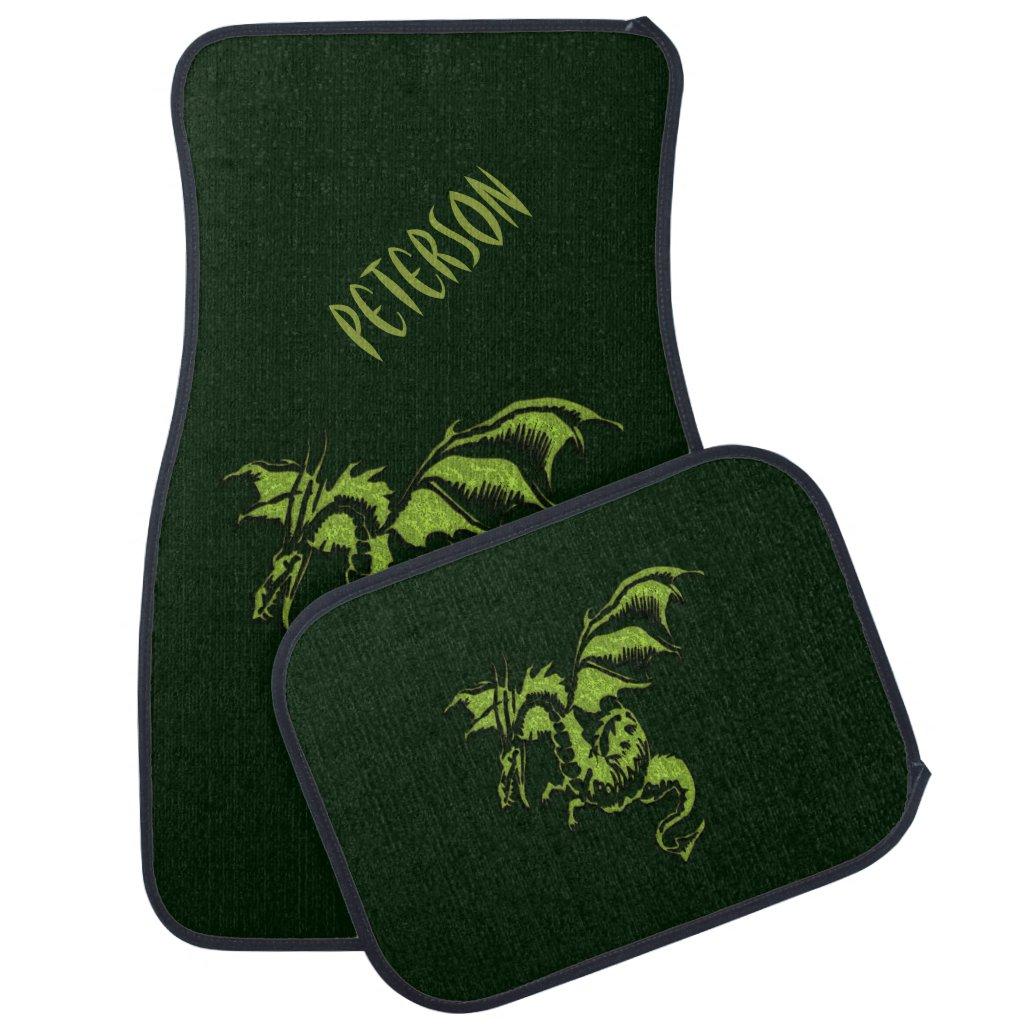 Flying Green Dragon Monogram Car Floor Mat
