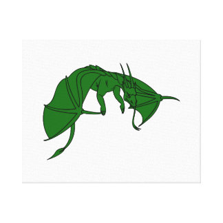 flying green dragon outline.png canvas print