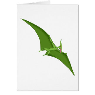 Flying Green Pterodactyl Greeting Card