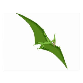 Flying Green Pterodactyl Postcard
