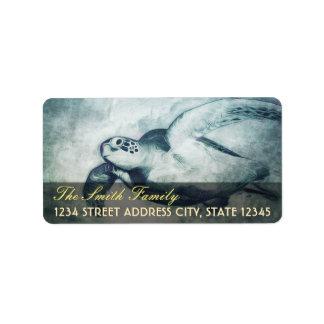 Flying Green Sea Turtle | Address Labels