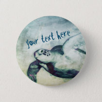 Flying Green Sea Turtle | Button Pin