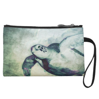 Flying Green Sea Turtle | Clutch Wristlet Clutches