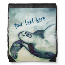 Flying Green Sea Turtle | Drawstring Backpack
