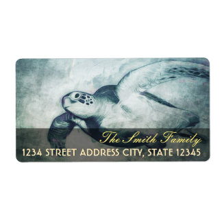 Flying Green Sea Turtle | Shipping Address Labels