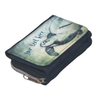 Flying Green Sea Turtle   Wallet with Coin Purse