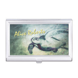 Flying Green Sea Turtles | Business Card Holder