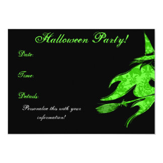 Flying Green Witch Halloween Invitation
