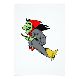 Flying Green Witch in Red Shoes Custom Invitation