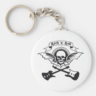 flying guitar rock skull llavero redondo tipo pin