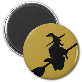 flying halloween witch 2 inch round magnet