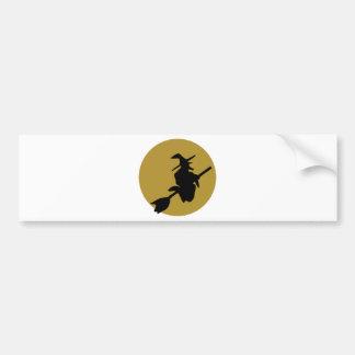 flying halloween witch car bumper sticker