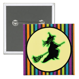 Flying Halloween Witch Button
