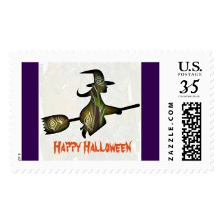 Flying Halloween witch - holiday postage stamp