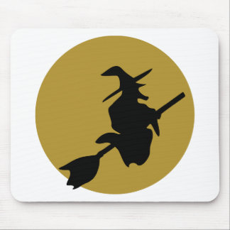 flying halloween witch mouse pad
