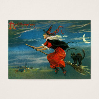 Flying Halloween Witch with Cat Business Card