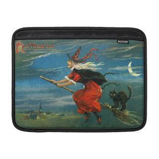 Flying Halloween Witch with Cat Sleeves For MacBook Air