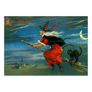 Flying Halloween Witch with Cat Large Business Card