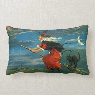 Flying Halloween Witch with Cat Lumbar Pillow