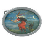 Flying Halloween Witch with Cat Oval Belt Buckles