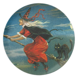 Flying Halloween Witch with Cat Plate