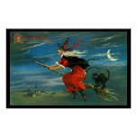 Flying Halloween Witch with Cat Poster