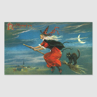 Flying Halloween Witch with Cat Rectangle Stickers