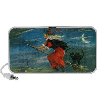 Flying Halloween Witch with Cat Travel Speaker