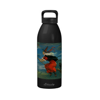 Flying Halloween Witch with Cat Water Bottle
