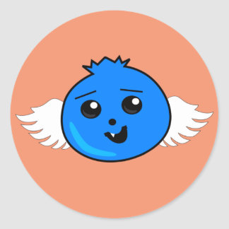 Flying Happy Blueberry Classic Round Sticker