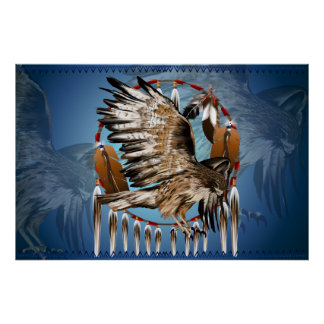 Flying Hawk Dreamcatcher Print