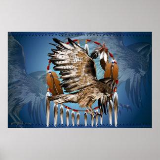 Flying Hawk Dreamcatcher Print