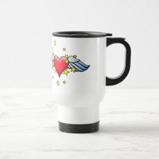 Flying Heart 15 Oz Stainless Steel Travel Mug