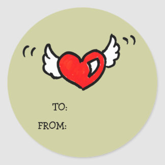 Flying Heart - Gift tag sticker