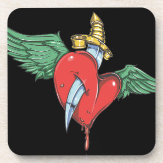 Flying Heart Pierced with Knife Drink Coaster
