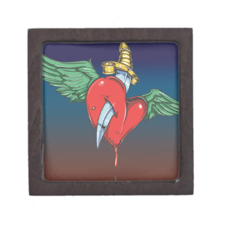 Flying Heart Pierced with Knife Jewelry Box