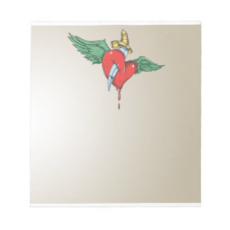 Flying Heart Pierced with Knife Notepad