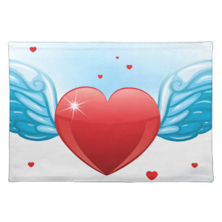 Flying heart cloth placemat