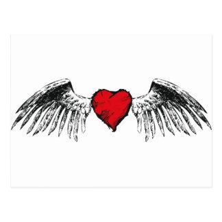 flying heart postcard