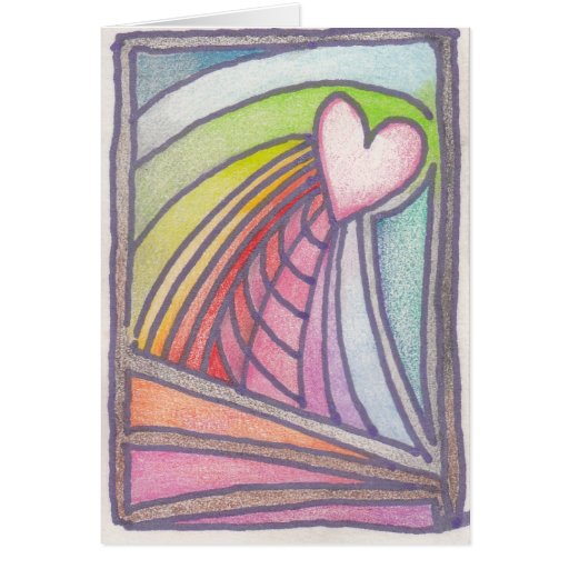 Flying Heart Rainbow Stained Glass Drawing Cards