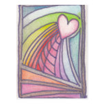 Flying Heart Rainbow Stained Glass Drawing Post Card